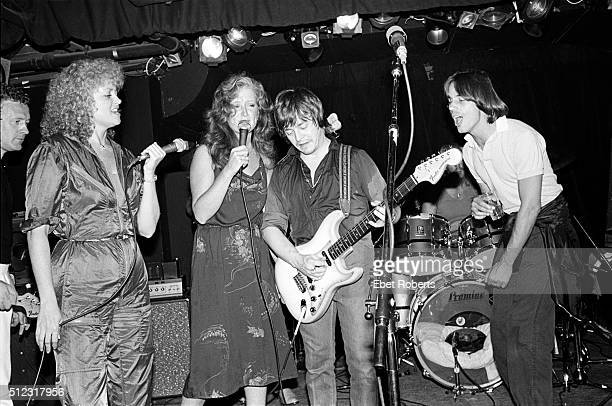Rosemary Butler Bonnie Raitt Rick Derringer and Jackson Browne performing at the No Nukes Muse Party at Trax in New York City on February 18 1980