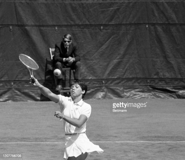 Rosemary Casals, seventh seeded slugger, hammers one during her match against Eva Lundquist of Sweden in the U.S. Lawn Tennis Singles Championships.