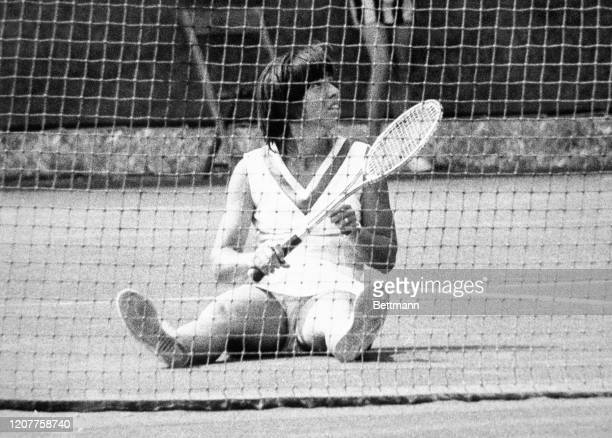 Rosemary Casals world's number 3 ranked woman tennis player seen here after she fell while making a return in her match with Becky Vest at the...