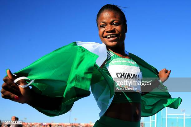 Rosemary Chukuma of Nigeria celebrates after winning the gold medal in Women's 100mduring day 9 of Buenos Aires 2018 Youth Olympic Games at Youth...