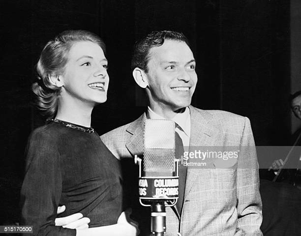Rosemary Clooney and Frank Sinatra at a recording session at Columbia Field 1955