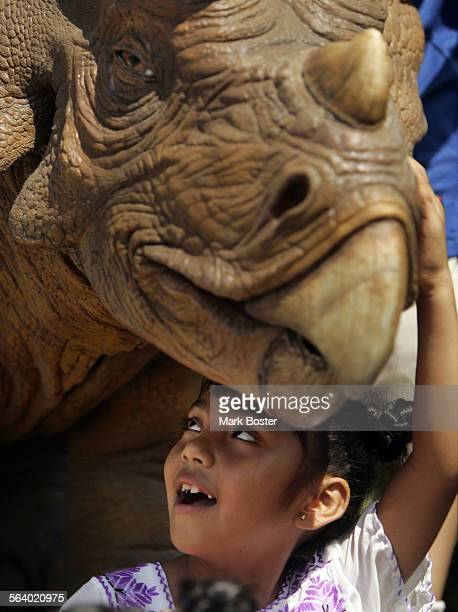 –Rosemary Cornelio from Santa Ana plays with an interactive triceratops at the Discovery Scince Center in Santa Ana Next to the triceratops is the...