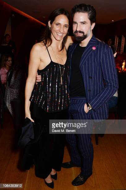 Rosemary Ferguson wearing ALEXACHUNG and Jack Guinness attend Alexa Chung's CHUNGSGIVING dinner to celebrate Thanksgiving and the launch of her...