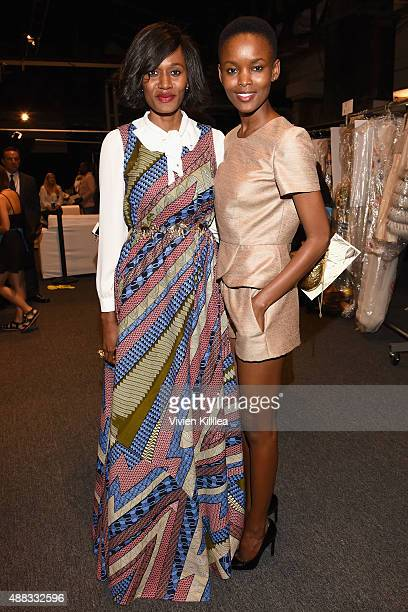 Rosemary Kokuhilwa and Flaviana Matata pose backstage at Dennis Basso Spring 2016 during New York Fashion Week The Shows at The Arc Skylight at...