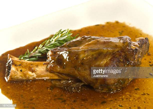 rosemary lamb shank on mint sauce - leg of lamb stock pictures, royalty-free photos & images