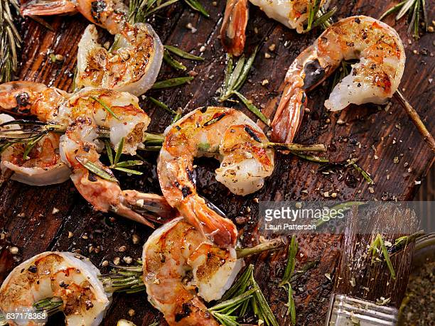 rosemary shrimp skewers - shrimp stock photos and pictures