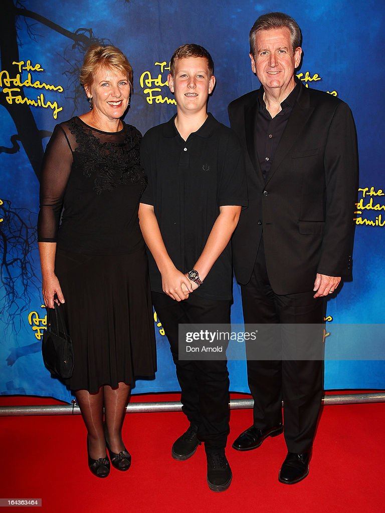 Rosemary, Will and Barry O'Farrell arrive for 'The Addams Family' Musical Premiere at the Capitol Theatre on March 23, 2013 in Sydney, Australia.