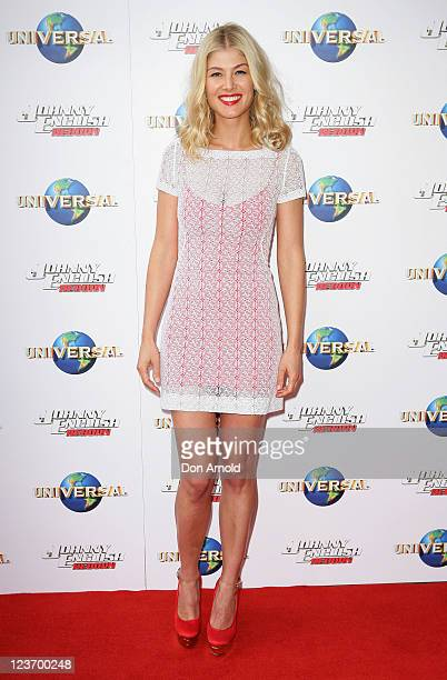 """Rosemund Pike attends the world premiere of the movie """"Johnny English Reborn"""" at Fox Studios on September 4, 2011 in Sydney, Australia."""
