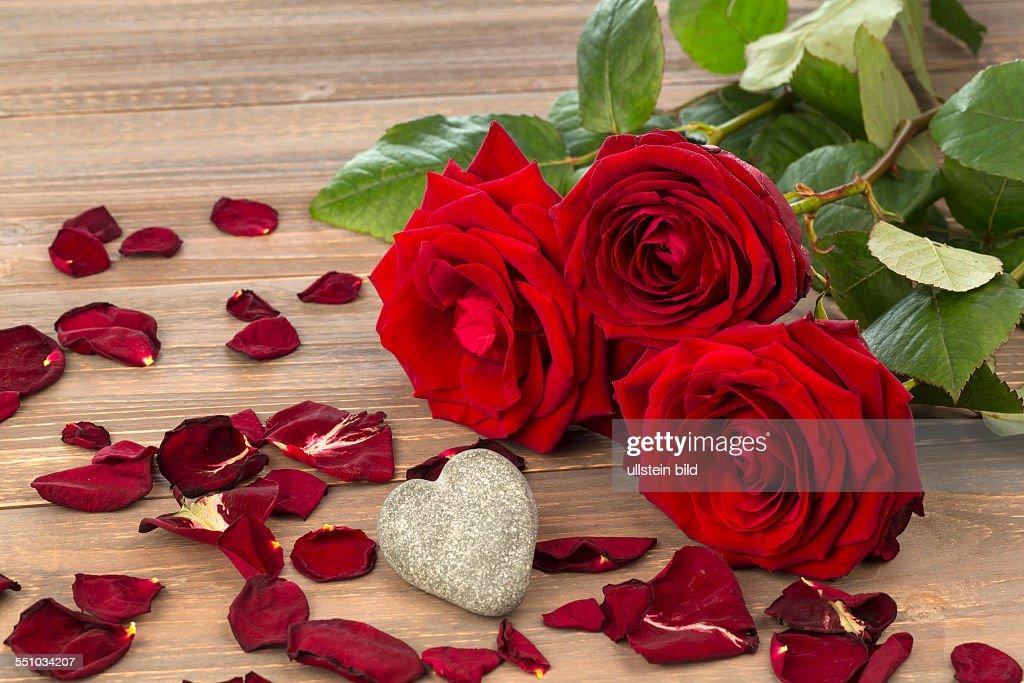 Rosen Als Geschenk Und Überraschung Zu Einem Fest. Symbolfoto Für  Geburtstag, Muttertag, Liebe