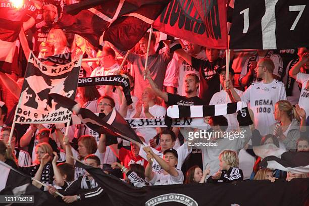 Rosenborg BK fans show their support during the Norwegian Tippeligaen match betwen Rosenborg BK and Molde FK held on August 7 2011 at the Lerkendal...
