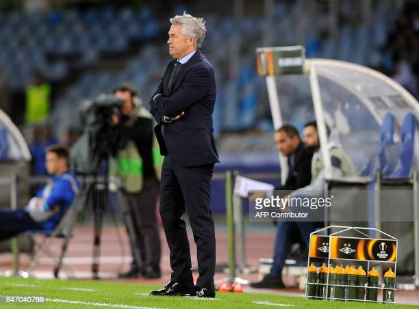 Rosenborg's coach from Norway Kare Ingebrigtsen stands on the sideline during the Europa League football match Real Sociedad vs Rosenborg BK at the...