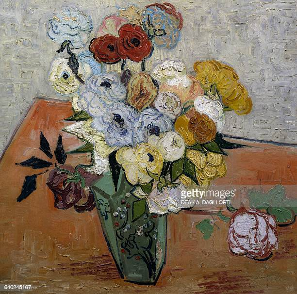 Roses and Anemones by Vincent Van Gogh oil on canvas 51x51 cm Detail Paris Musée D'Orsay