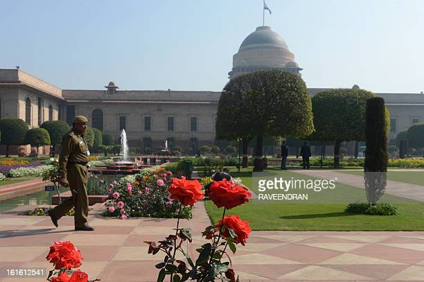 Roses bloom in the Mughal Gardens at Rashtrapati Bhawan, the Presidential Palace, in New Delhi on February 13, 2013. The 15 acre area of the Mughal...