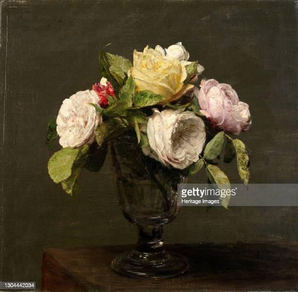 Roses dans un Verre a Pied, 1873. [Roses in a stemmed vase]. Artist Henri Fantin-Latour.