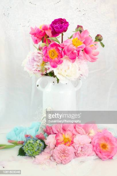 roses, gladiolus, peonies and hydrangea bouquet - gladiolus stock pictures, royalty-free photos & images
