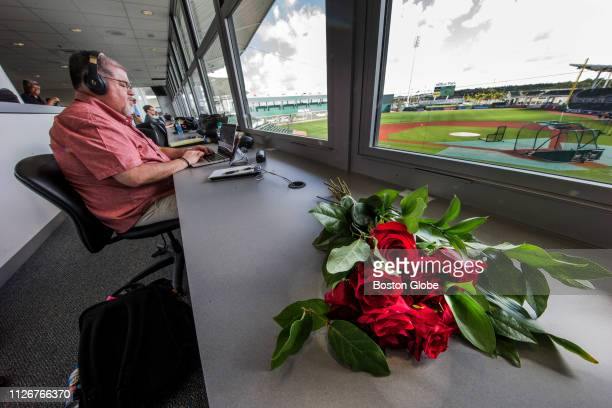 Roses mark the spot where late Boston Globe baseball writer Nick Cafardo sat in the press box at JetBlue Park in Fort Myers FL on Feb 18 2019 The...