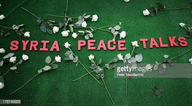 Roses placed by Oxfam surround the words Syria Peace Talks during a photocall on June 17 2013 in Belfast Northern Ireland The two day G8 summit...