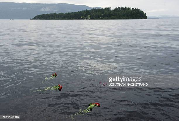 Roses thrown in the lake Tyrifjorden in honor of the victims of the July 22 shooting spree at a Labour Party youth summer camp on the island of...