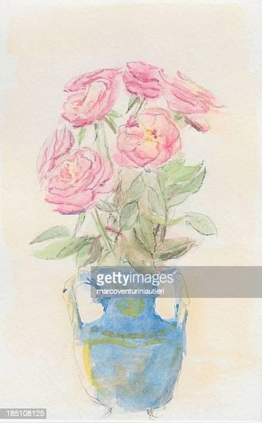 バラの花瓶-初心者向けの水彩画