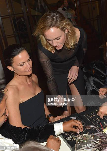 Rosetta Getty and Amber Valetta attend the Sabine G Jewelry Dinner at Balthazar and Rosetta Getty's home on November 8 2013 in Los Angeles California