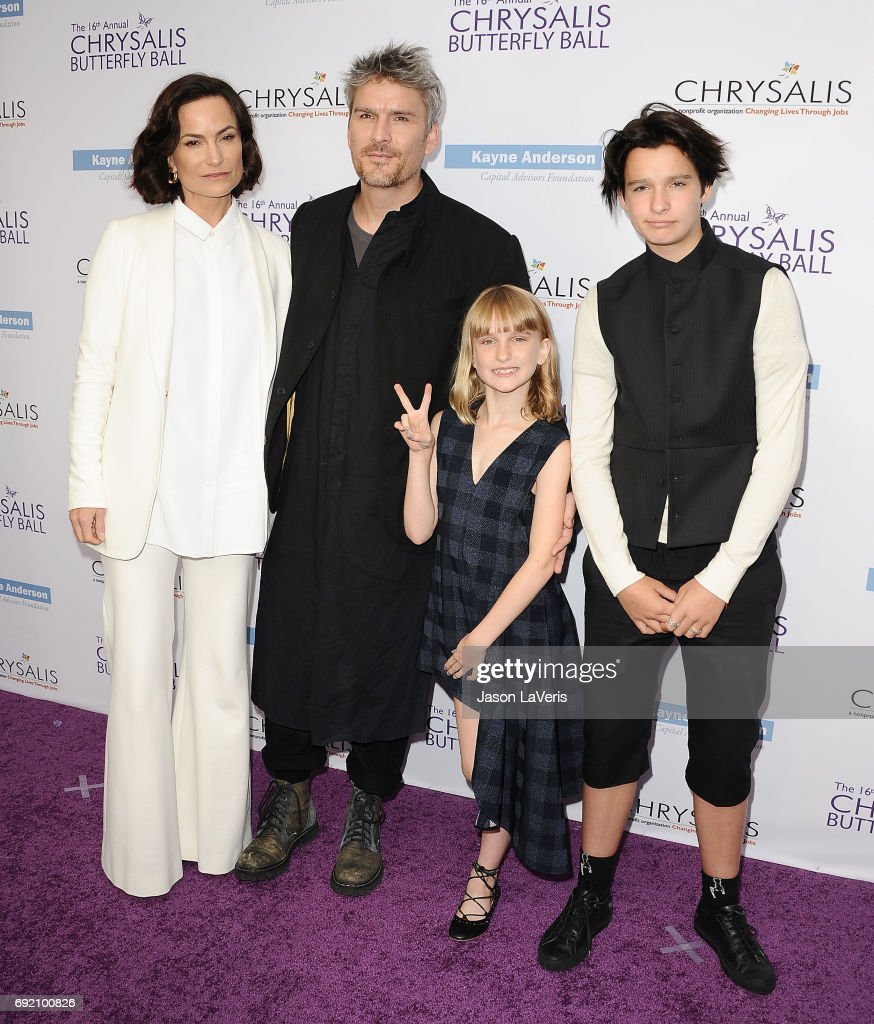 Rosetta Getty and Balthazar Getty with children Violet Getty and June Getty attend the 16th annual Chrysalis Butterfly Ball on June 3, 2017 in Brentwood, California.