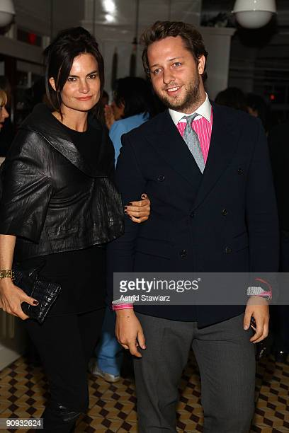 Rosetta Getty and Derek Blasberg attend the Calvin Klein Collection after party at the Standard Grill at The Standard Hotel on September 17, 2009 in...