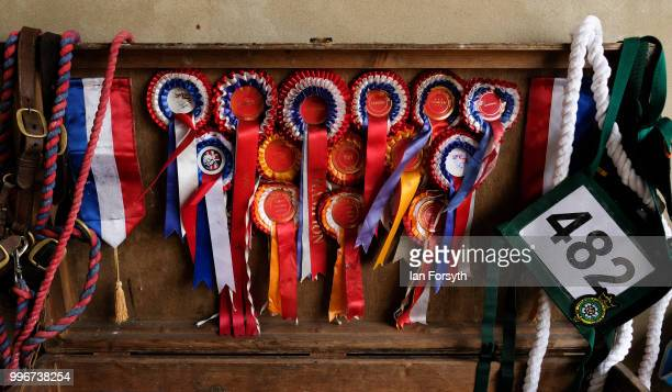 Rosettes are displayed in side a cleaning box during the 160th Great Yorkshire Show on July 10 2018 in Harrogate England First held in 1838 the show...