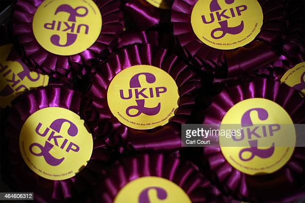 Rosettes are pictured at the United Kingdom Independence Party conference on February 27 2015 in Margate England The antiEU party with two members of...