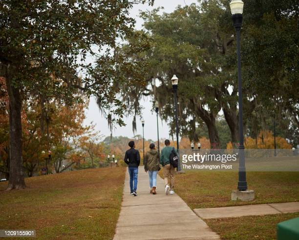 TALLAHASSEE FL Rosewood scholarship recipients Darshae Spells Chandraha CJ Srinivasa Jr and Morgan Carter walks through campus at Florida...
