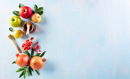 Rosh hashanah (jewish New Year holiday), Concept of traditional or religion symbols on pastel blue background. 1263468078
