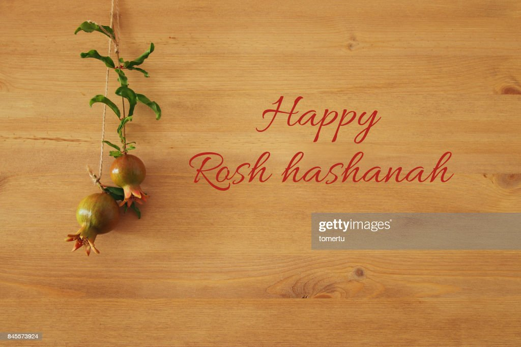 Rosh Hashanah Concept Pomegranate Over Wooden Background Traditional