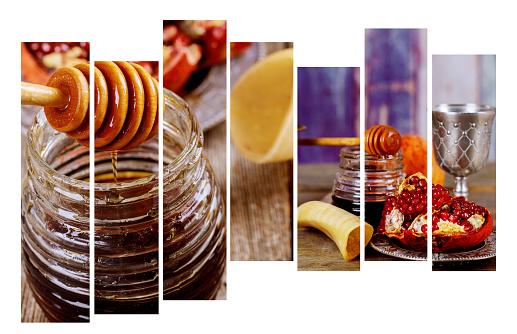 rosh hashanah jewesh holiday concept shofar, torah book, honey, apple and pomegranate. traditional holiday symbols. 1021955280