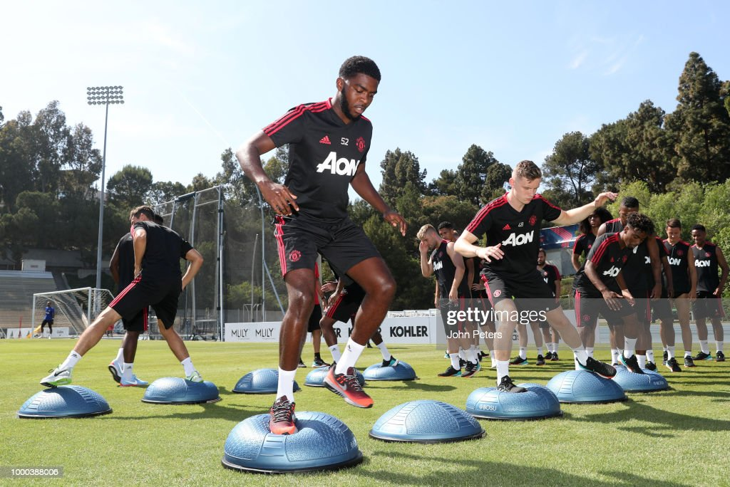 Ro-Shaun Williams and Ethan Hamilton of Manchester United in action with their team-mates during a Manchester United pre-season training session at UCLA on July 16, 2018 in Los Angeles, California.