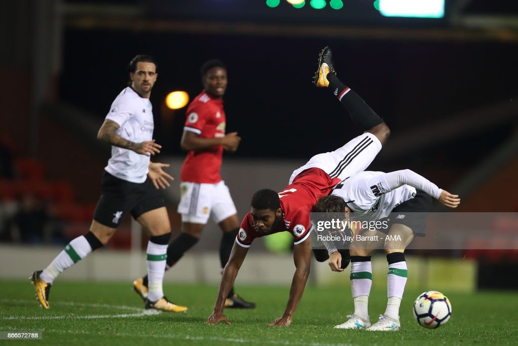 Ro-Shaun Williams of Manchester United and Harry Wilson of Liverpool during the Premier League 2 fixture between Manchester United and Liverpool at Leigh Sports Village on October 23, 2017 in Leigh, Greater Manchester.