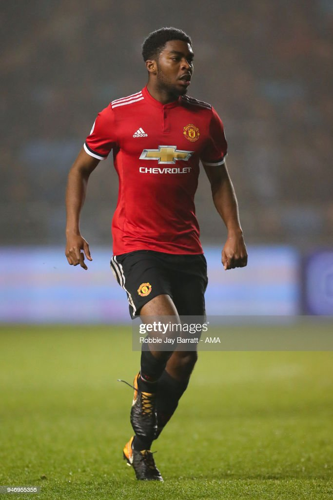 Ro-Shaun Williams of Manchester United during the Premier League 2 match at Manchester City Football Academy on April 13, 2018 in Manchester, England.