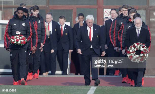 RoShaun Williams of Manchester United U19s and British Ambassador Denis Keefe lay wreaths in memory of the victims of the Munich Air Disaster on the...