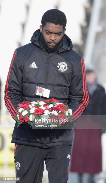RoShaun Williams of Manchester United U19s lays a wreath in memory of the victims of the Munich Air Disaster on the 60th anniversary at Partizan...