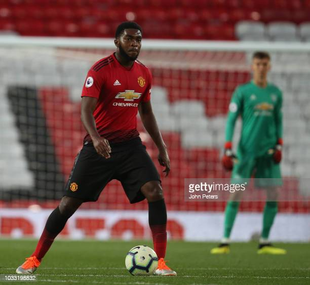 RoShaun Williams of Manchester United U23s in action during the Premier League 2 match between Manchester United U23s and Reading U23s at Old...