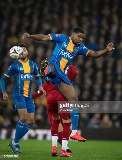 RoShaun Williams of Shrewsbury Town in action during the FA Cup Fourth Round Replay match between Liverpool and Shrewsbury Town at Anfield on...