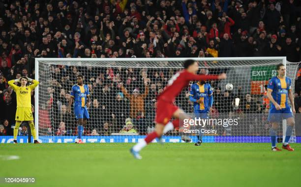 RoShaun Williams of Shrewsbury Town reacts to scoring a own goal during the FA Cup Fourth Round Replay match between Liverpool FC and Shrewsbury Town...