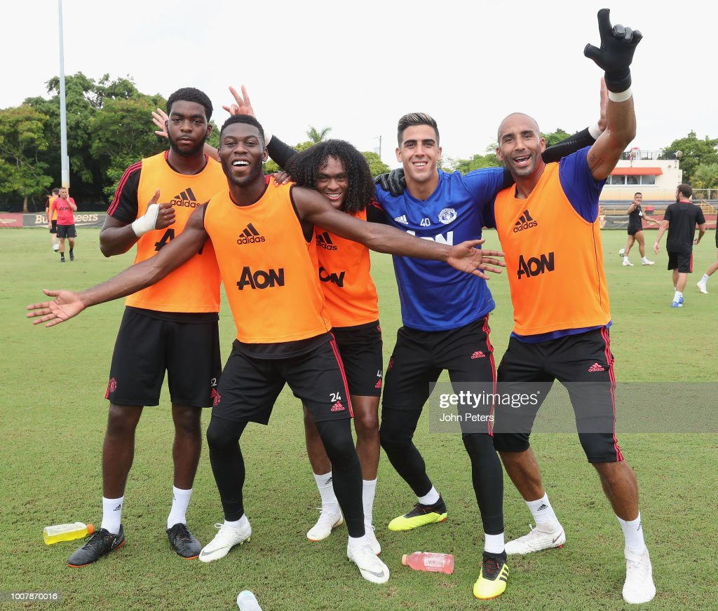 Ro-Shaun Williams, Timothy Fosu-Mensah, Tahith Chong, Joel Pereira and Lee Grant of Manchester United celebrate during a training session as part of their pre-season tour of the USA at Barry University on July 30, 2018 in Miami, Florida.