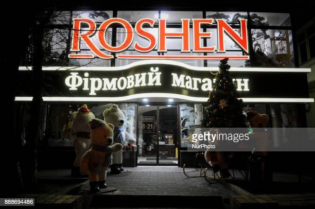 A Roshen chocolate store is seen near the detention center where Mikheil Saakashvili is being held in Kiev Ukraine on December 9 2017 Roshen is the...