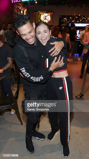 Roshon Fegan and Alyson Stoner attend the Firework APP launch at Two Bit Circus on September 13 2018 in Los Angeles California