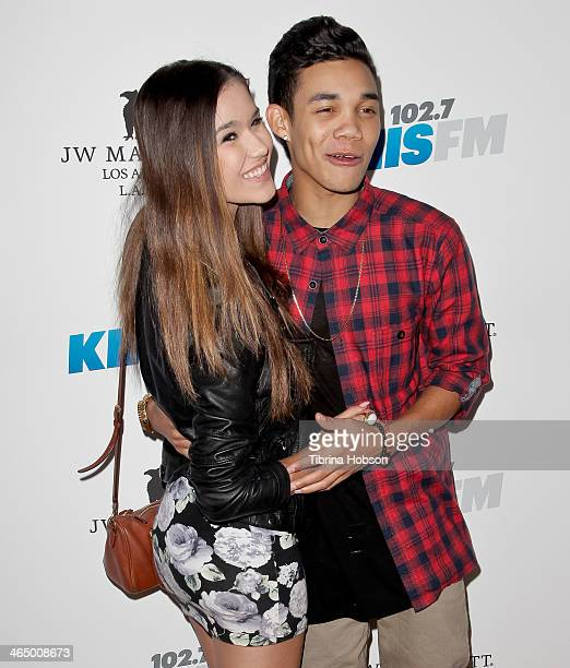 Roshon Fegan and Camia Marie attend the KIIS 1027 and ALT 987 FM preGrammy party and lounge at JW Marriott Los Angeles at LA LIVE on January 24 2014...