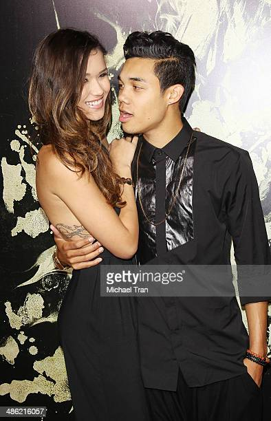 Roshon Fegan and CamiaMarie Chaidez arrive at the Los Angeles Premiere of The Quiet Ones held at The Theatre at Ace Hotel on April 22 2014 in Los...