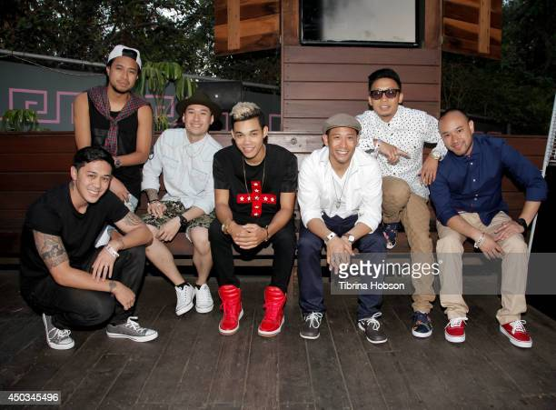 Roshon Fegan poses with The Jabbawockeez backstage at the 'Rebuild' benefit concert for Typhoon Haiyan survivors at The Greek Theatre on June 8 2014...