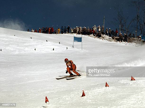 Rosi Speiser of West Germany competes in the Alpine Skiing Women's Downhill during the 1972 Sapporo Winter Olympics at Mt Teine Alpine course on...
