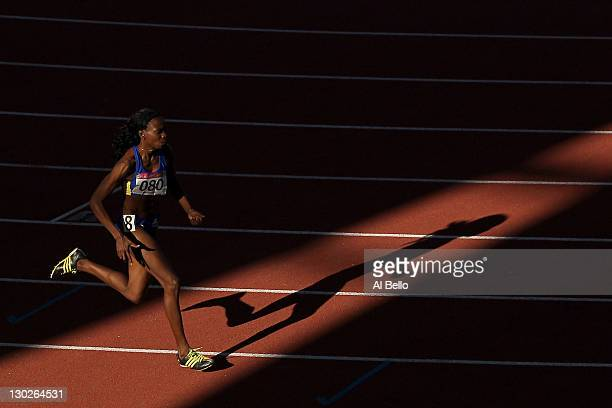 Rosibel Garcia of Colombia competes in the women's 800m final during Day 11 of the XVI Pan American Games at Telmex Stadium on October 25, 2011 in...
