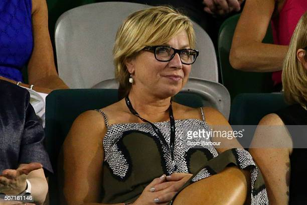 Rosie Batty watches the semi final match between Serena Williams of the United States and Agnieszka Radwanska of Poland during day 11 of the 2016...