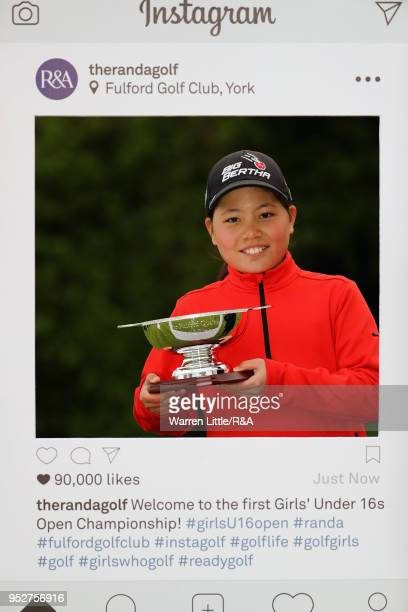 Rosie Bee Kim poses with the U12 trophy after the final round of the Girls' U16 Open Championship at Fulford Golf Club on April 29 2018 in York...